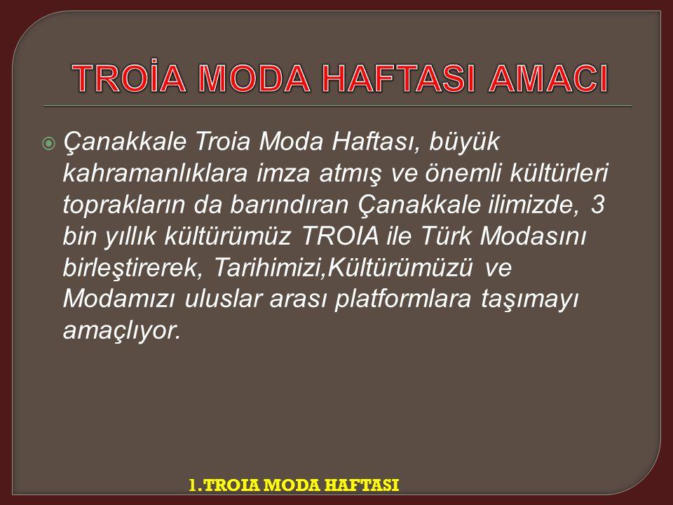  Çanakkale Troia Moda Haftası, büyük kahramanlıklara imza atmış ve önemli kültürleri toprakların da barındıran Çanakkale ilimizde, 3 bin yıllık kültürümüz TROIA ile Türk Modasını birleştirerek, Tarihimizi,Kültürümüzü ve Modamızı uluslar arası platformlara taşımayı amaçlıyor.