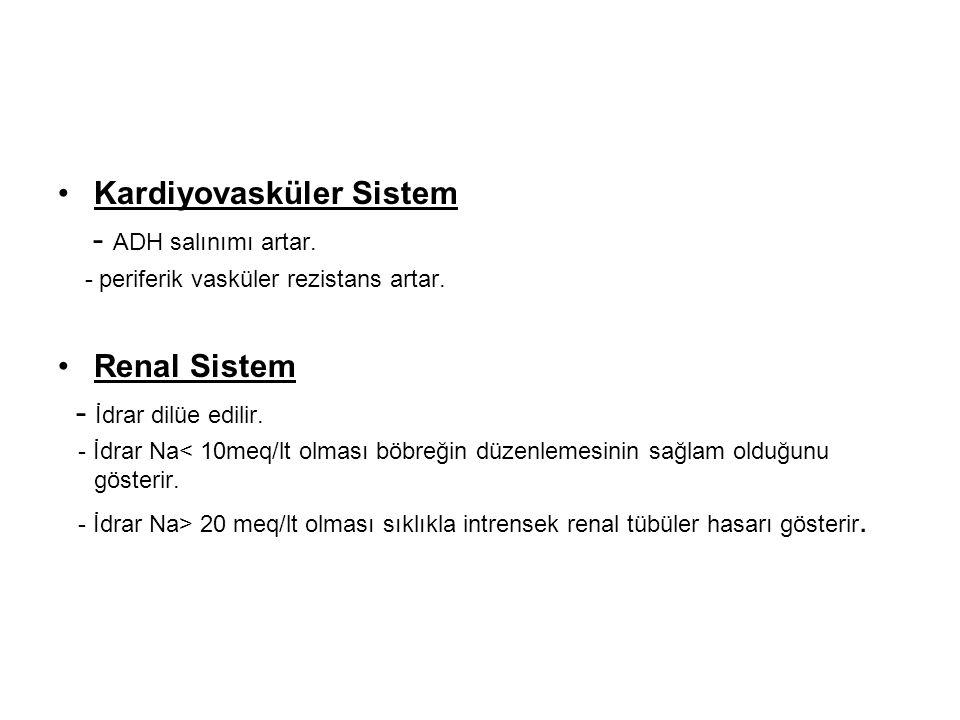Kardiyovasküler Sistem - ADH salınımı artar. - periferik vasküler rezistans artar. Renal Sistem - İdrar dilüe edilir. - İdrar Na< 10meq/lt olması böbr