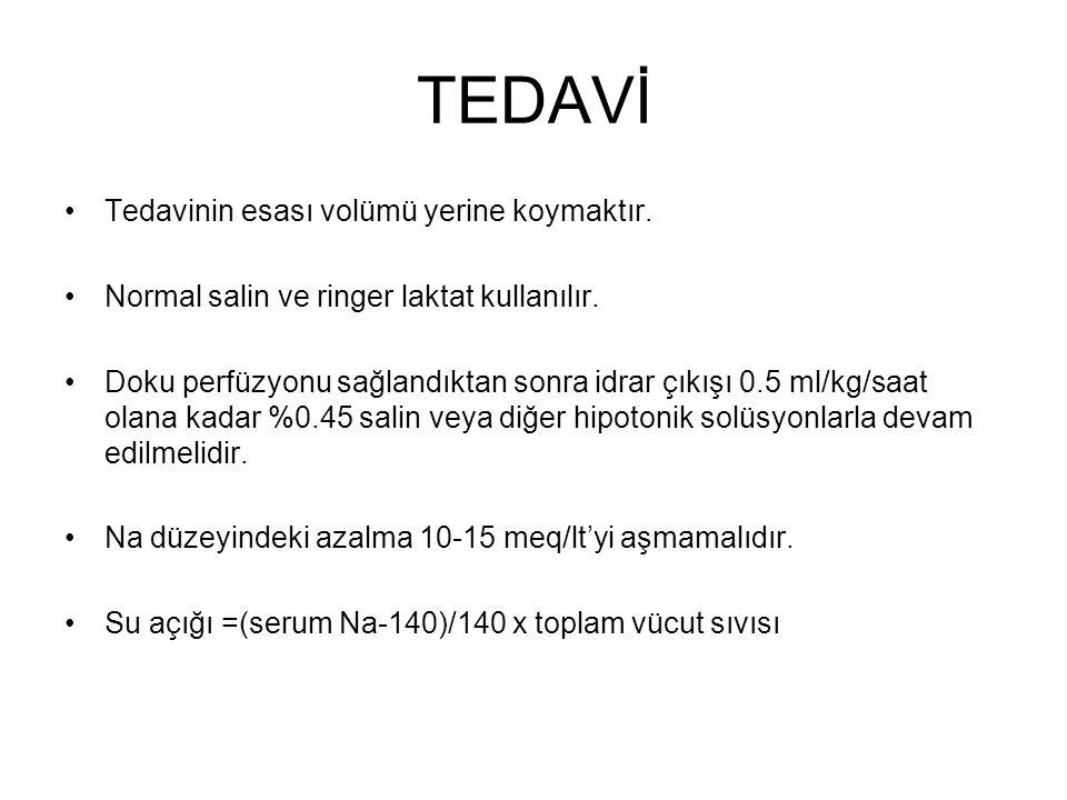 TEDAVİ Tedavinin esası volümü yerine koymaktır. Normal salin ve ringer laktat kullanılır. Doku perfüzyonu sağlandıktan sonra idrar çıkışı 0.5 ml/kg/sa