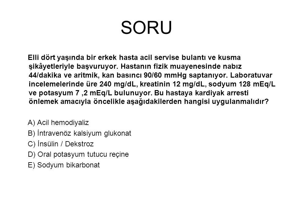 SORU Serum sodyum düzeyi 121 mEq/L, glukoz konsantrasyonu 90 mg/dL ve kan üre nitrojen düzeyi 28 mg/dL olan bir hastanın serum osmolalitesi kaç mOsm/kg H2O dur.