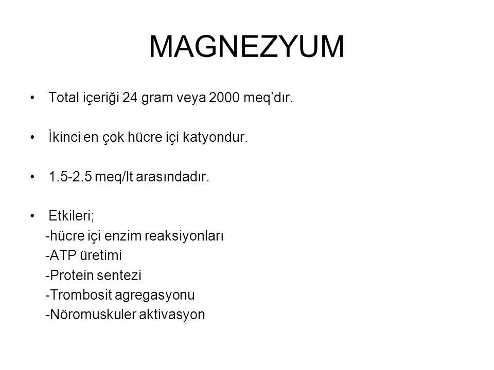 MAGNEZYUM Total içeriği 24 gram veya 2000 meq'dır. İkinci en çok hücre içi katyondur. 1.5-2.5 meq/lt arasındadır. Etkileri; -hücre içi enzim reaksiyon