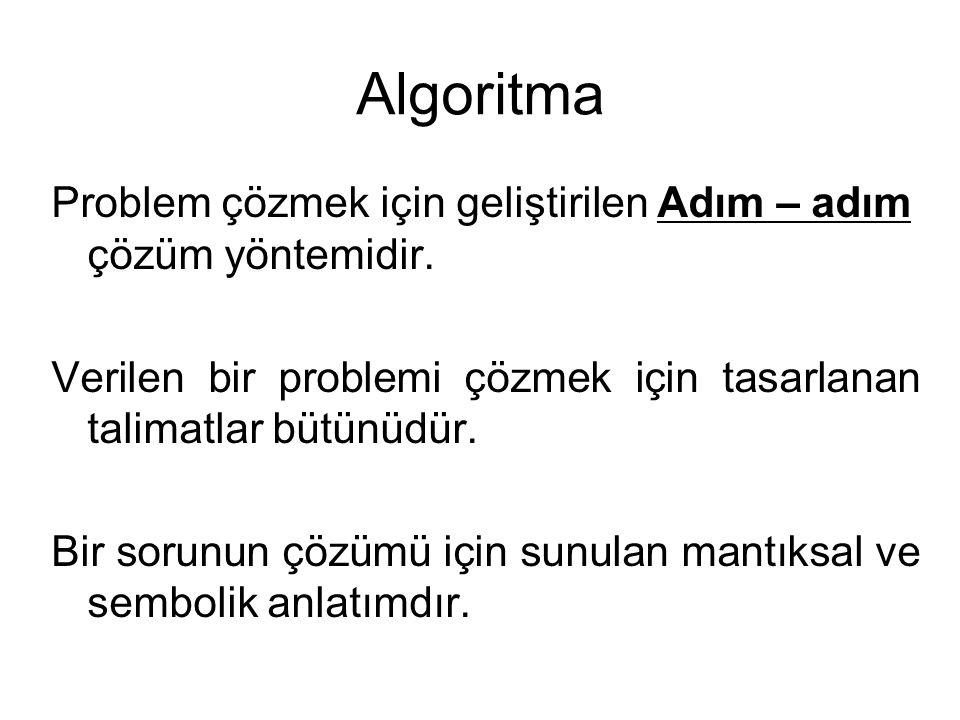 Algoritma Problem çözmek için geliştirilen Adım – adım çözüm yöntemidir.