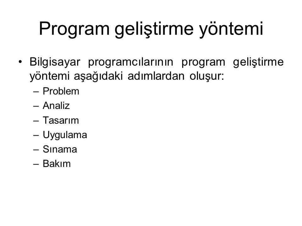 Program geliştirme yöntemi Bilgisayar programcılarının program geliştirme yöntemi aşağıdaki adımlardan oluşur: –Problem –Analiz –Tasarım –Uygulama –Sınama –Bakım