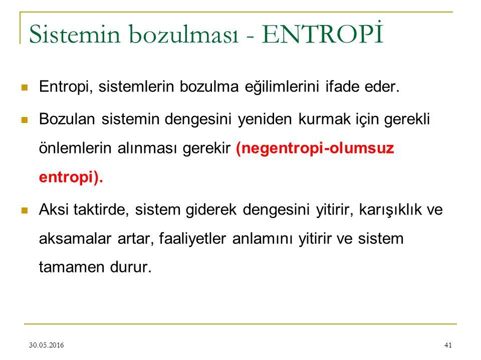 41 Sistemin bozulması - ENTROPİ Entropi, sistemlerin bozulma eğilimlerini ifade eder. Bozulan sistemin dengesini yeniden kurmak için gerekli önlemleri