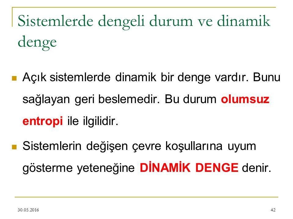 42 Sistemlerde dengeli durum ve dinamik denge Açık sistemlerde dinamik bir denge vardır. Bunu sağlayan geri beslemedir. Bu durum olumsuz entropi ile i