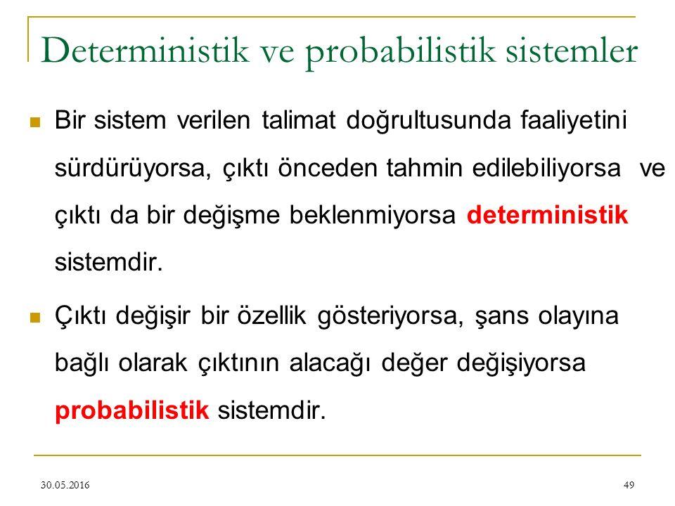 49 Deterministik ve probabilistik sistemler Bir sistem verilen talimat doğrultusunda faaliyetini sürdürüyorsa, çıktı önceden tahmin edilebiliyorsa ve