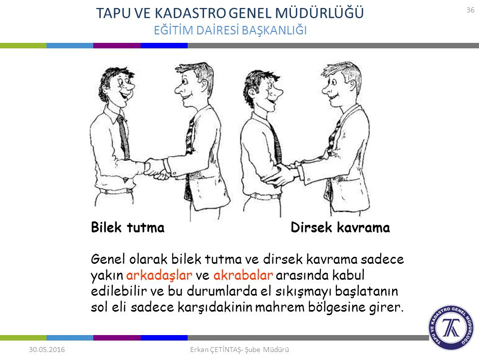 TAPU VE KADASTRO GENEL MÜDÜRLÜĞÜ EĞİTİM DAİRESİ BAŞKANLIĞI 30.05.2016 36 Erkan ÇETİNTAŞ- Şube Müdürü Bilek tutma Dirsek kavrama Genel olarak bilek tut