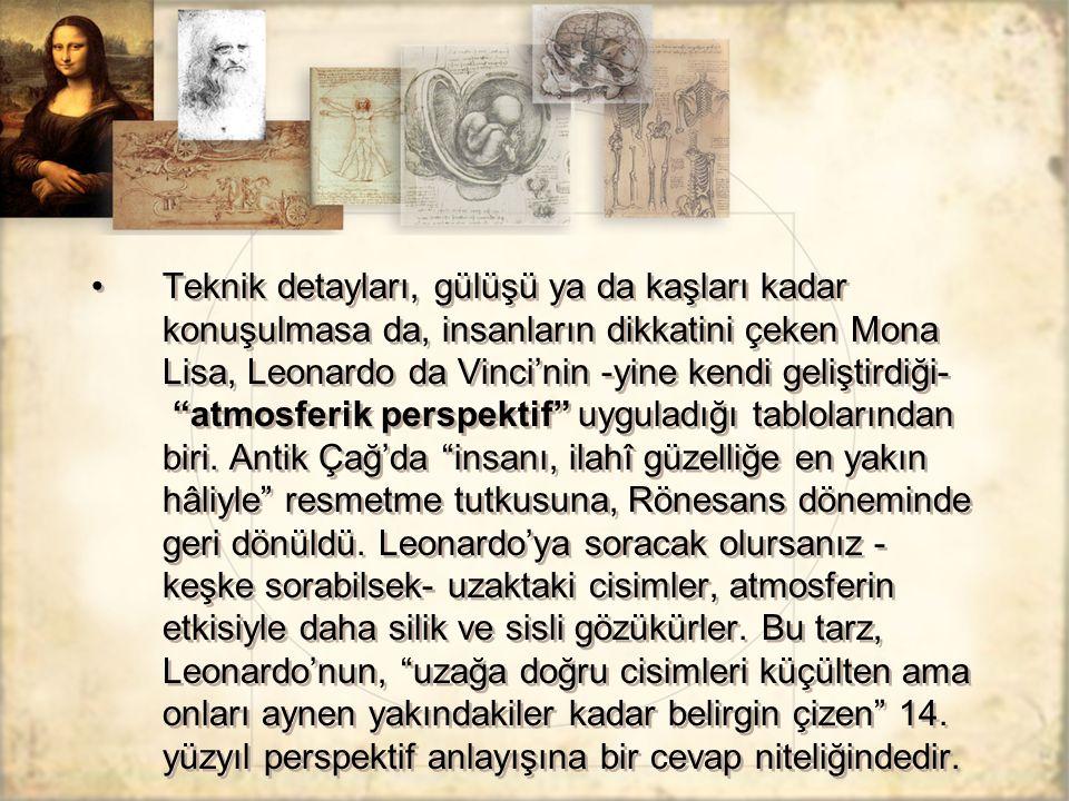 """Teknik detayları, gülüşü ya da kaşları kadar konuşulmasa da, insanların dikkatini çeken Mona Lisa, Leonardo da Vinci'nin -yine kendi geliştirdiği- """"at"""
