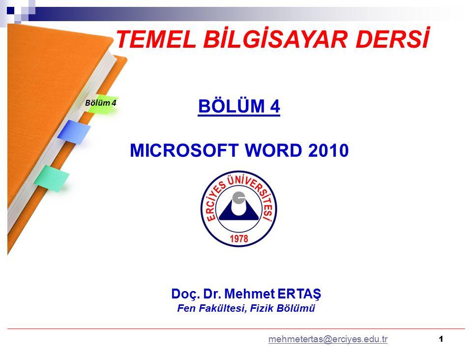 12 2.5.YAZIM DENETLEME: Seçilen belge diline göre WORD otomatik olarak yazım denetimi yapacaktır.