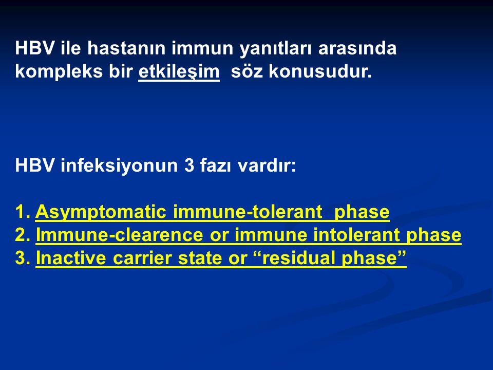 HBV ile hastanın immun yanıtları arasında kompleks bir etkileşim söz konusudur.