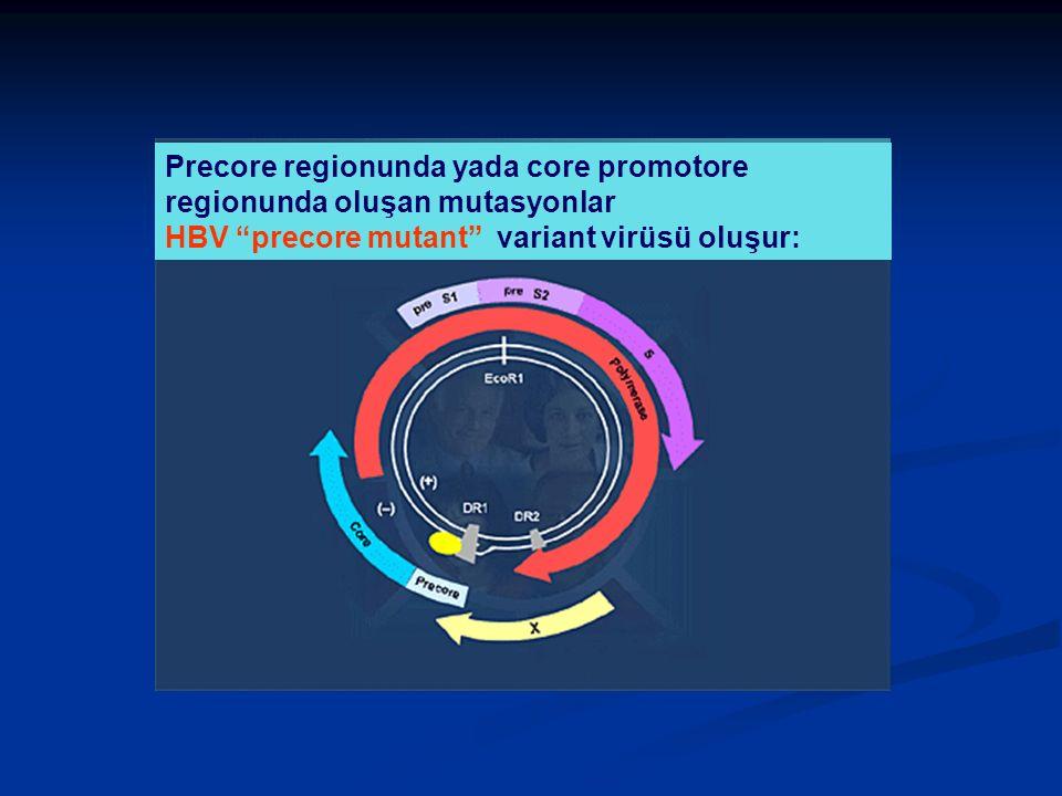 Precore regionunda yada core promotore regionunda oluşan mutasyonlar HBV precore mutant variant virüsü oluşur: