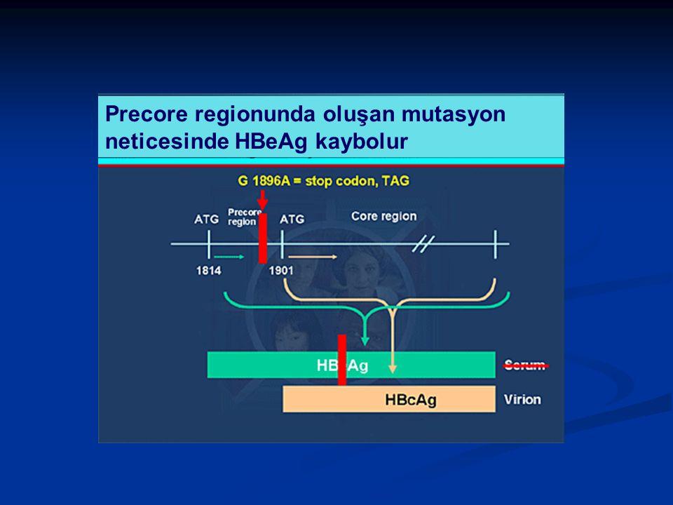 Precore regionunda oluşan mutasyon neticesinde HBeAg kaybolur