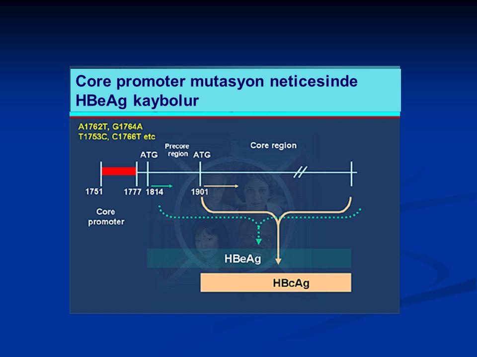 Core promoter mutasyon neticesinde HBeAg kaybolur