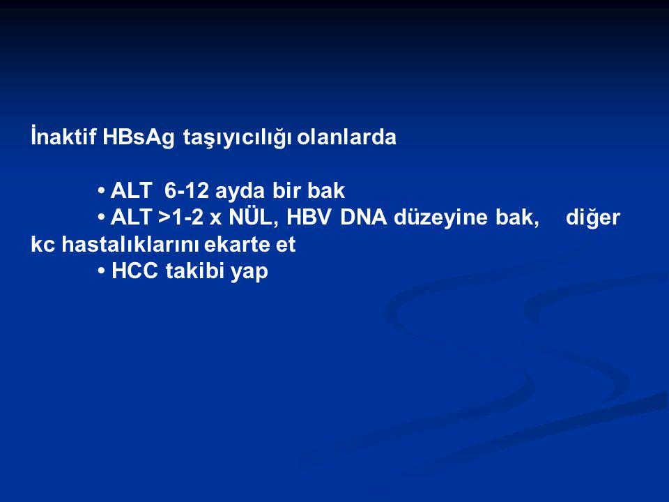 İnaktif HBsAg taşıyıcılığı olanlarda ALT 6-12 ayda bir bak ALT >1-2 x NÜL, HBV DNA düzeyine bak, diğer kc hastalıklarını ekarte et HCC takibi yap