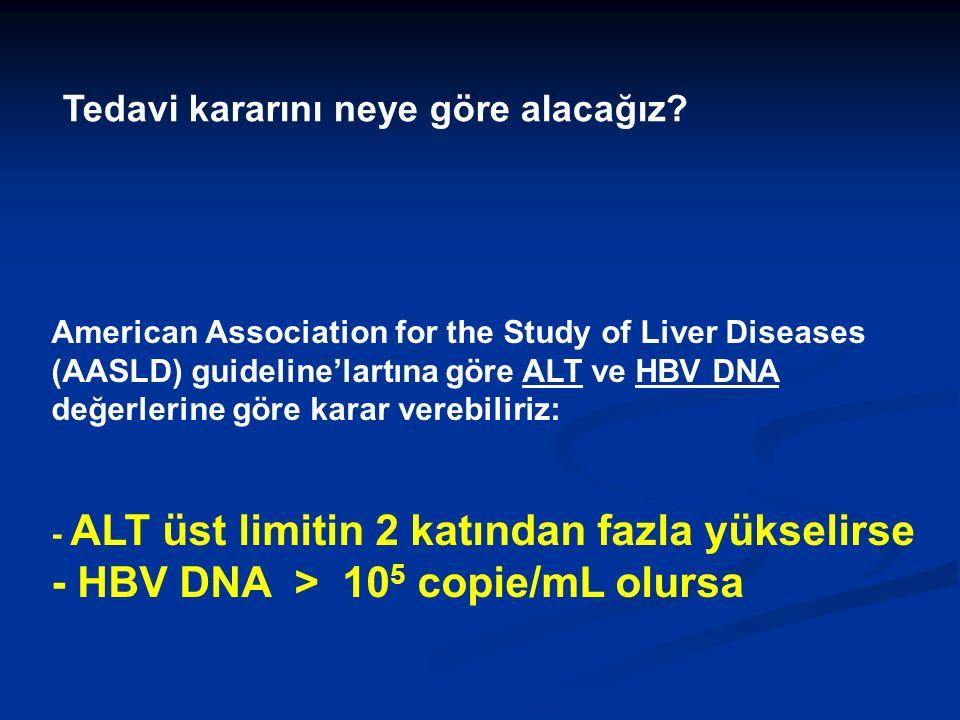 American Association for the Study of Liver Diseases (AASLD) guideline'lartına göre ALT ve HBV DNA değerlerine göre karar verebiliriz: - ALT üst limitin 2 katından fazla yükselirse - HBV DNA > 10 5 copie/mL olursa Tedavi kararını neye göre alacağız