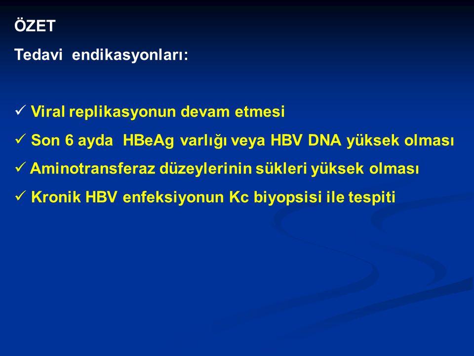 ÖZET Tedavi endikasyonları: Viral replikasyonun devam etmesi Son 6 ayda HBeAg varlığı veya HBV DNA yüksek olması Aminotransferaz düzeylerinin sükleri yüksek olması Kronik HBV enfeksiyonun Kc biyopsisi ile tespiti