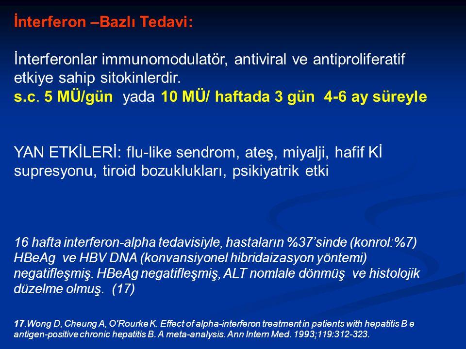 İnterferon –Bazlı Tedavi: İnterferonlar immunomodulatör, antiviral ve antiproliferatif etkiye sahip sitokinlerdir.