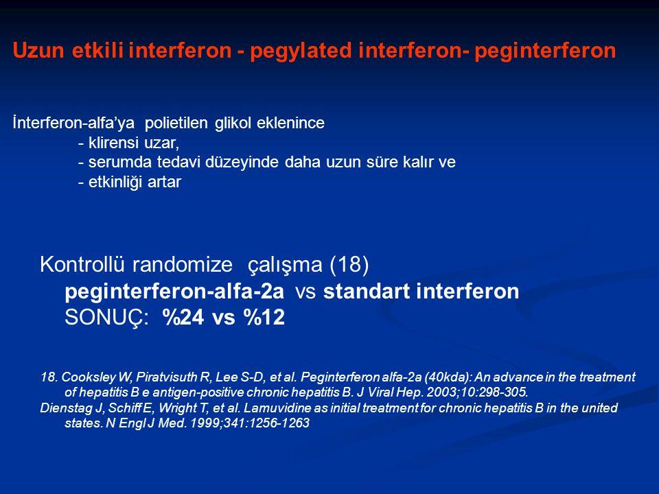 Kontrollü randomize çalışma (18) peginterferon-alfa-2a vs standart interferon SONUÇ: %24 vs %12 18.