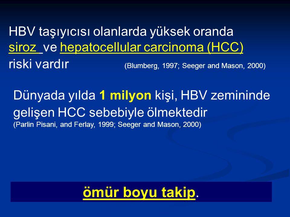HBV taşıyıcısı olanlarda yüksek oranda siroz ve hepatocellular carcinoma (HCC) riski vardır (Blumberg, 1997; Seeger and Mason, 2000) Dünyada yılda 1 milyon kişi, HBV zemininde gelişen HCC sebebiyle ölmektedir (Parlin Pisani, and Ferlay, 1999; Seeger and Mason, 2000) ömür boyu takip.