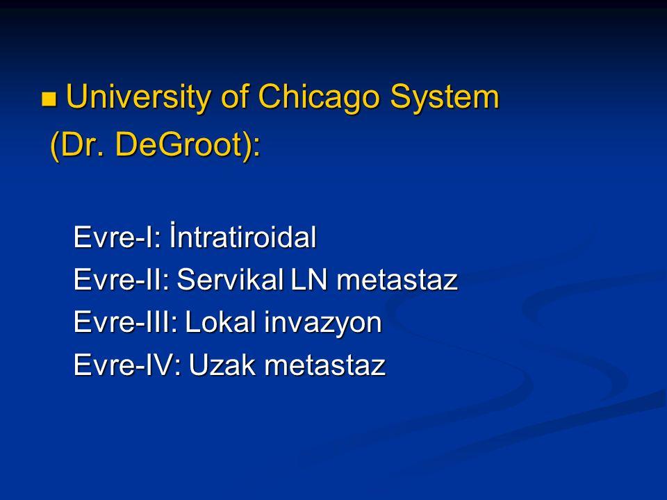 University of Chicago System University of Chicago System (Dr. DeGroot): (Dr. DeGroot): Evre-I: İntratiroidal Evre-I: İntratiroidal Evre-II: Servikal