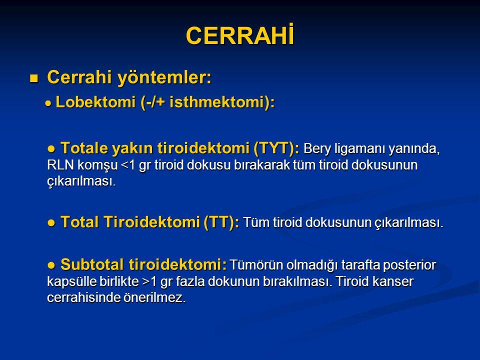 CERRAHİ Cerrahi yöntemler: Cerrahi yöntemler: ● Lobektomi (-/+ isthmektomi): ● Lobektomi (-/+ isthmektomi): ● Totale yakın tiroidektomi (TYT): Bery ligamanı yanında, RLN komşu <1 gr tiroid dokusu bırakarak tüm tiroid dokusunun çıkarılması.
