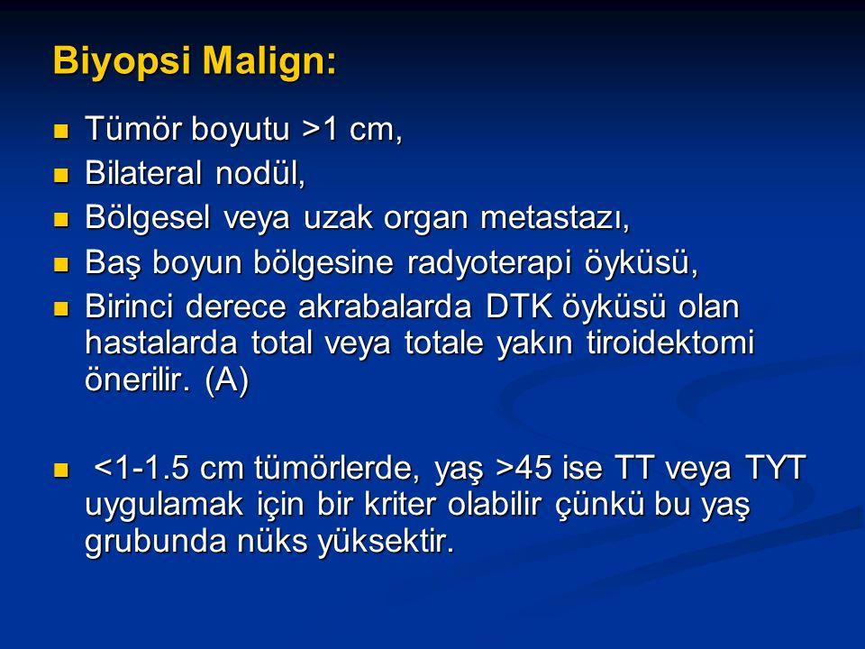 Biyopsi Malign: Tümör boyutu >1 cm, Tümör boyutu >1 cm, Bilateral nodül, Bilateral nodül, Bölgesel veya uzak organ metastazı, Bölgesel veya uzak organ