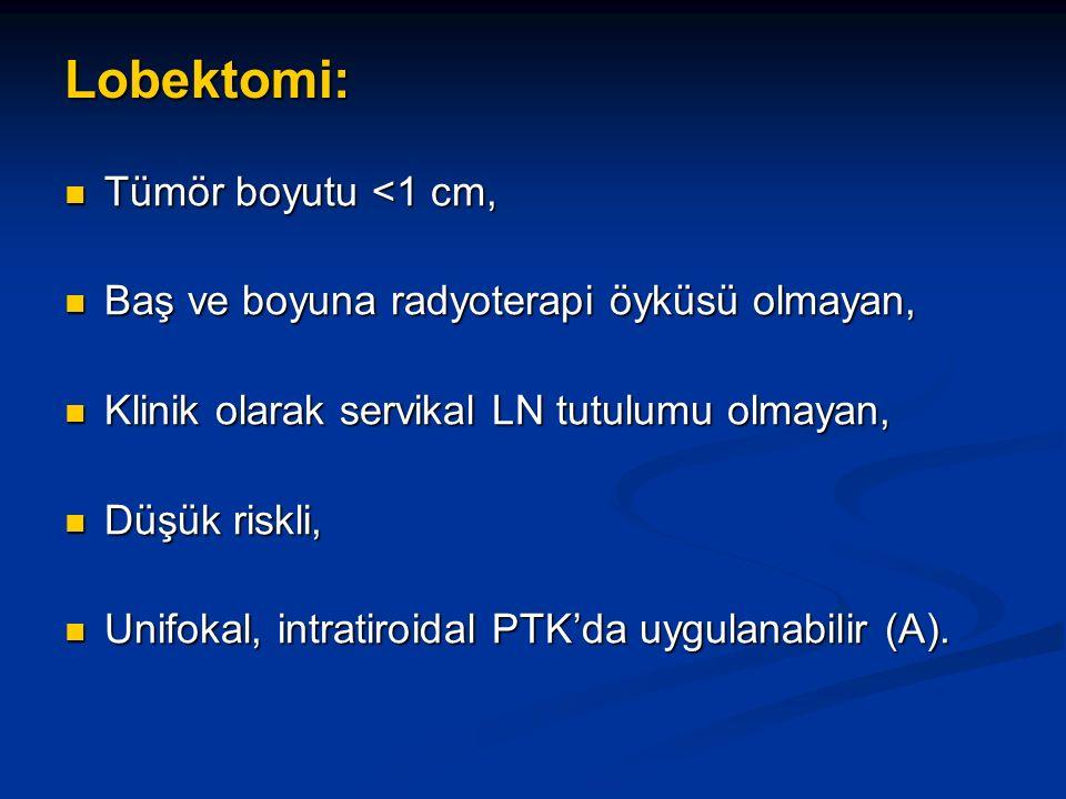 Lobektomi: Tümör boyutu <1 cm, Tümör boyutu <1 cm, Baş ve boyuna radyoterapi öyküsü olmayan, Baş ve boyuna radyoterapi öyküsü olmayan, Klinik olarak servikal LN tutulumu olmayan, Klinik olarak servikal LN tutulumu olmayan, Düşük riskli, Düşük riskli, Unifokal, intratiroidal PTK'da uygulanabilir (A).
