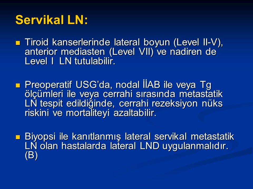 Servikal LN: Tiroid kanserlerinde lateral boyun (Level II-V), anterior mediasten (Level VII) ve nadiren de Level I LN tutulabilir. Tiroid kanserlerind