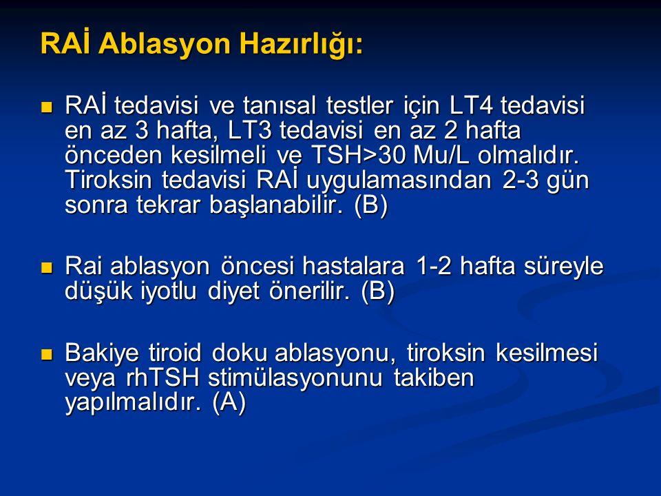 RAİ Ablasyon Hazırlığı: RAİ tedavisi ve tanısal testler için LT4 tedavisi en az 3 hafta, LT3 tedavisi en az 2 hafta önceden kesilmeli ve TSH>30 Mu/L olmalıdır.