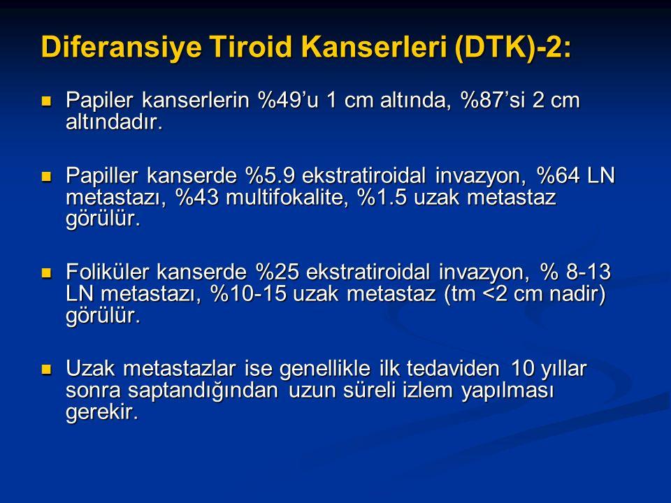 Diferansiye Tiroid Kanserleri (DTK)-2: Papiler kanserlerin %49'u 1 cm altında, %87'si 2 cm altındadır. Papiler kanserlerin %49'u 1 cm altında, %87'si