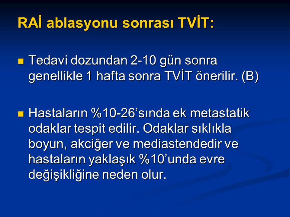 RAİ ablasyonu sonrası TVİT: Tedavi dozundan 2-10 gün sonra genellikle 1 hafta sonra TVİT önerilir. (B) Tedavi dozundan 2-10 gün sonra genellikle 1 haf