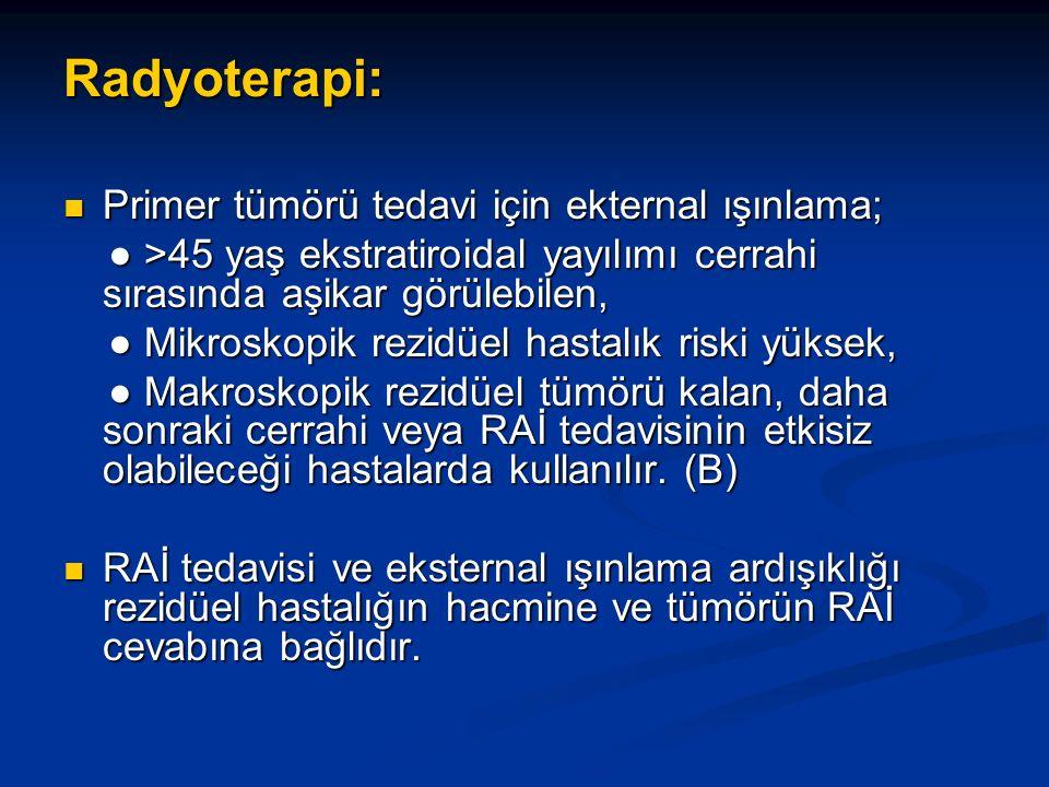 Radyoterapi: Primer tümörü tedavi için ekternal ışınlama; Primer tümörü tedavi için ekternal ışınlama; ● >45 yaş ekstratiroidal yayılımı cerrahi sırasında aşikar görülebilen, ● >45 yaş ekstratiroidal yayılımı cerrahi sırasında aşikar görülebilen, ● Mikroskopik rezidüel hastalık riski yüksek, ● Mikroskopik rezidüel hastalık riski yüksek, ● Makroskopik rezidüel tümörü kalan, daha sonraki cerrahi veya RAİ tedavisinin etkisiz olabileceği hastalarda kullanılır.