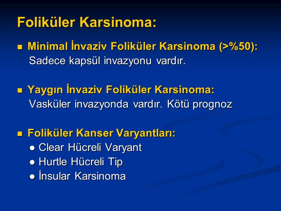 Foliküler Karsinoma: Minimal İnvaziv Foliküler Karsinoma (>%50): Minimal İnvaziv Foliküler Karsinoma (>%50): Sadece kapsül invazyonu vardır. Sadece ka