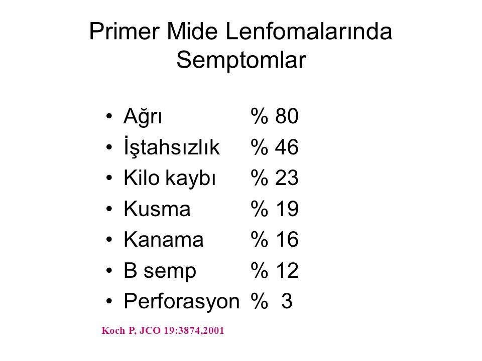 Primer Mide Lenfomalarında Semptomlar Ağrı% 80 İştahsızlık% 46 Kilo kaybı% 23 Kusma% 19 Kanama% 16 B semp% 12 Perforasyon% 3 Koch P, JCO 19:3874,2001