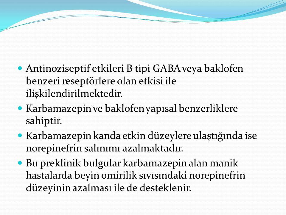 Antinoziseptif etkileri B tipi GABA veya baklofen benzeri reseptörlere olan etkisi ile ilişkilendirilmektedir. Karbamazepin ve baklofen yapısal benzer