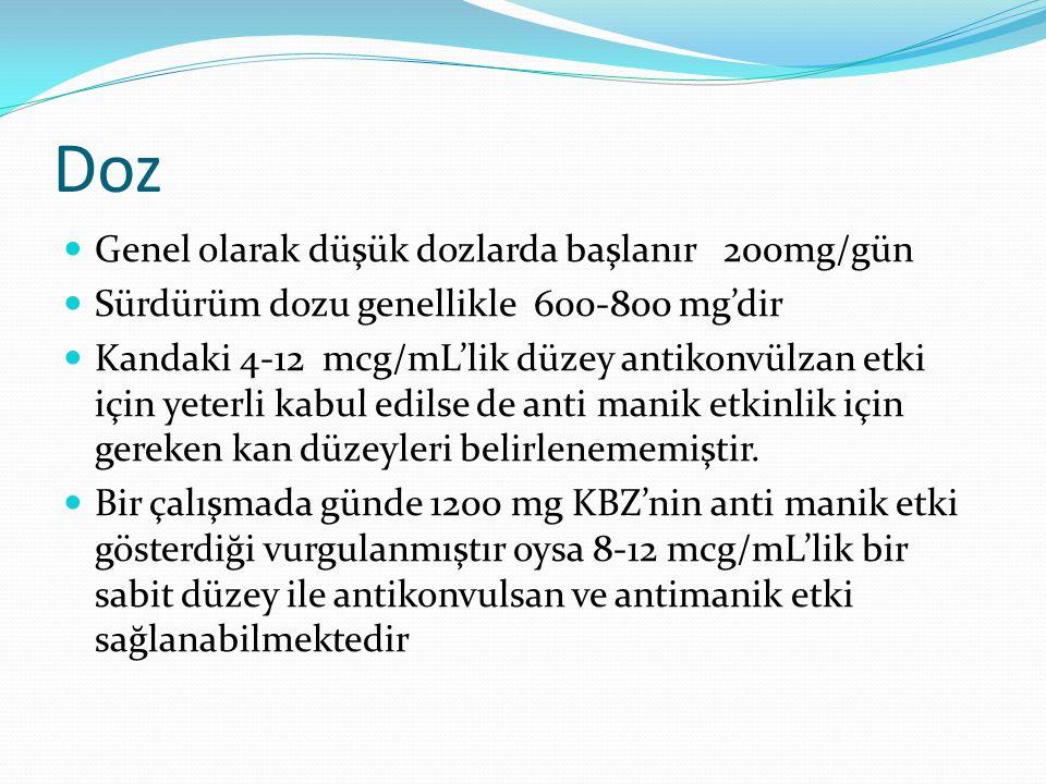 Doz Genel olarak düşük dozlarda başlanır 200mg/gün Sürdürüm dozu genellikle 600-800 mg'dir Kandaki 4-12 mcg/mL'lik düzey antikonvülzan etki için yeter