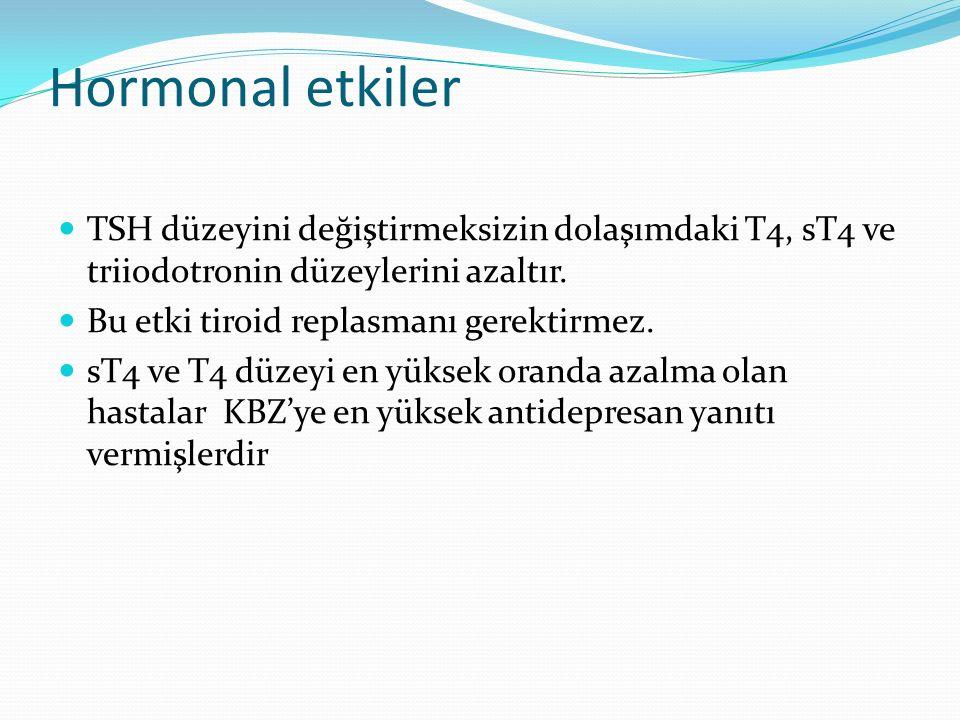 Hormonal etkiler TSH düzeyini değiştirmeksizin dolaşımdaki T4, sT4 ve triiodotronin düzeylerini azaltır. Bu etki tiroid replasmanı gerektirmez. sT4 ve