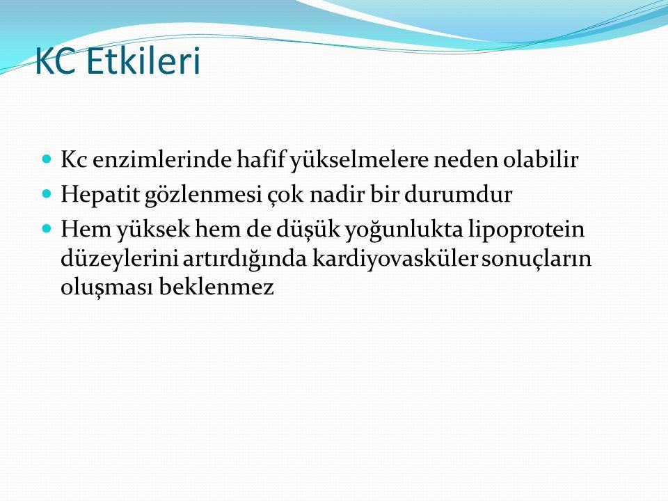 KC Etkileri Kc enzimlerinde hafif yükselmelere neden olabilir Hepatit gözlenmesi çok nadir bir durumdur Hem yüksek hem de düşük yoğunlukta lipoprotein