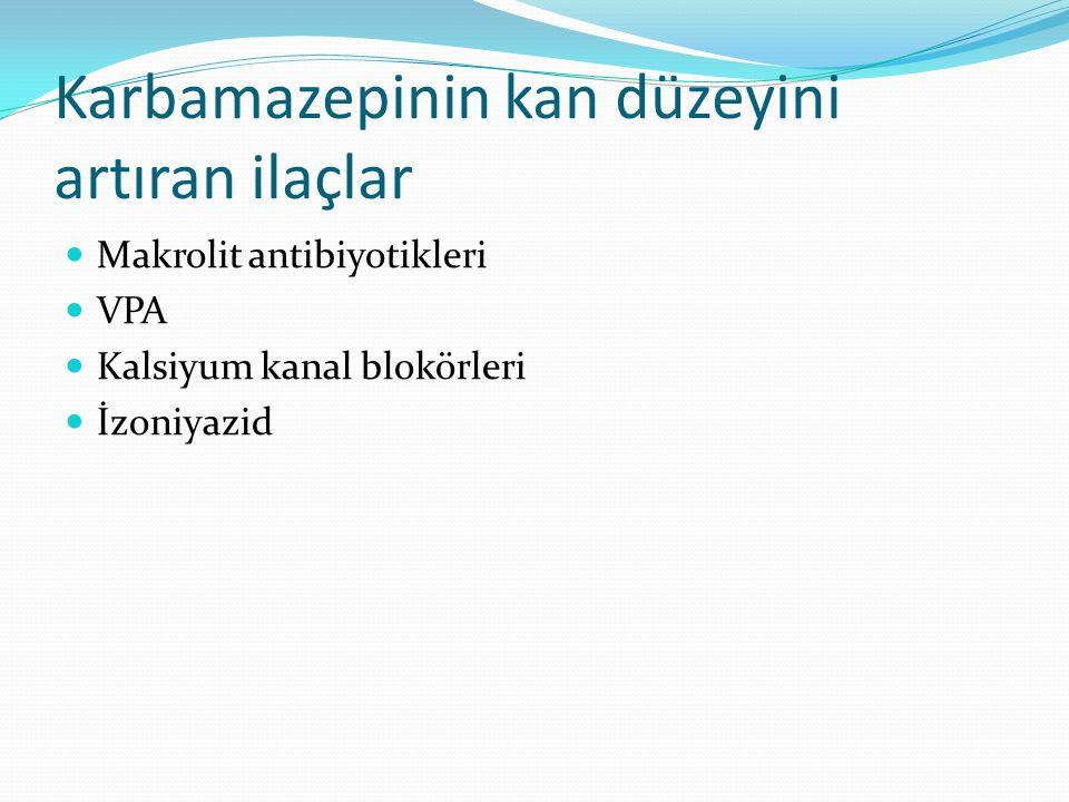 Karbamazepinin kan düzeyini artıran ilaçlar Makrolit antibiyotikleri VPA Kalsiyum kanal blokörleri İzoniyazid