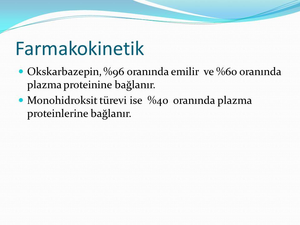 Farmakokinetik Okskarbazepin, %96 oranında emilir ve %60 oranında plazma proteinine bağlanır. Monohidroksit türevi ise %40 oranında plazma proteinleri