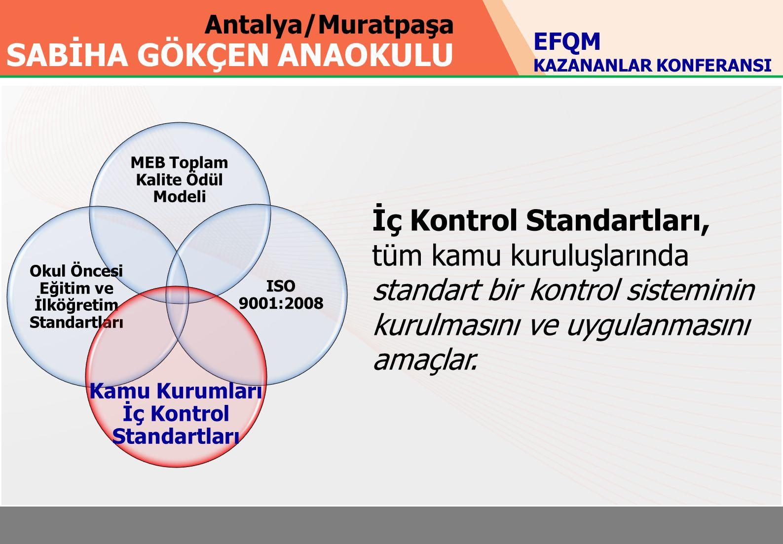 Antalya/Muratpaşa SABİHA GÖKÇEN ANAOKULU MEB Toplam Kalite Ödül Modeli Okul Öncesi Eğitim ve İlköğretim Standartları ISO 9001:2008 Kamu Kurumları İç Kontrol Standartları İç Kontrol Standartları, tüm kamu kuruluşlarında standart bir kontrol sisteminin kurulmasını ve uygulanmasını amaçlar.