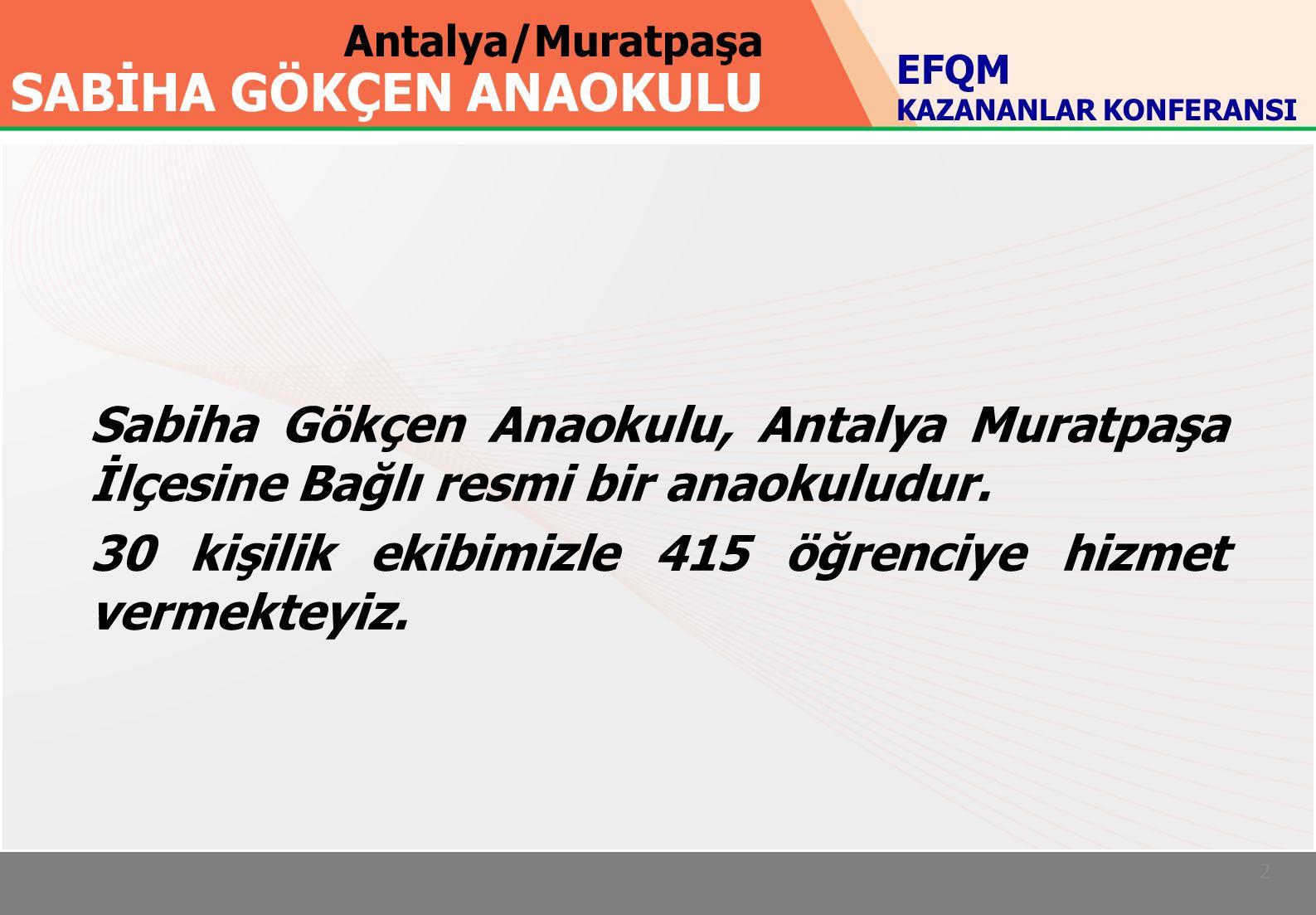 Antalya/Muratpaşa SABİHA GÖKÇEN ANAOKULU 2 Sabiha Gökçen Anaokulu, Antalya Muratpaşa İlçesine Bağlı resmi bir anaokuludur.