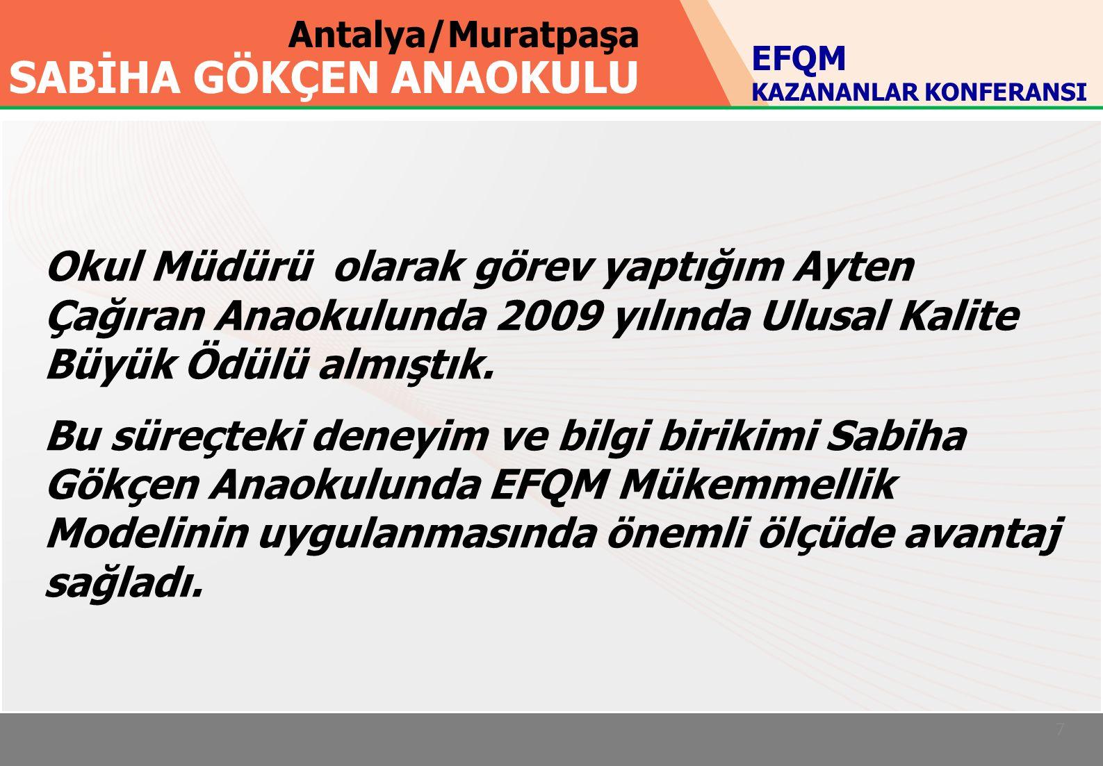 Antalya/Muratpaşa SABİHA GÖKÇEN ANAOKULU 7 Okul Müdürü olarak görev yaptığım Ayten Çağıran Anaokulunda 2009 yılında Ulusal Kalite Büyük Ödülü almıştık.