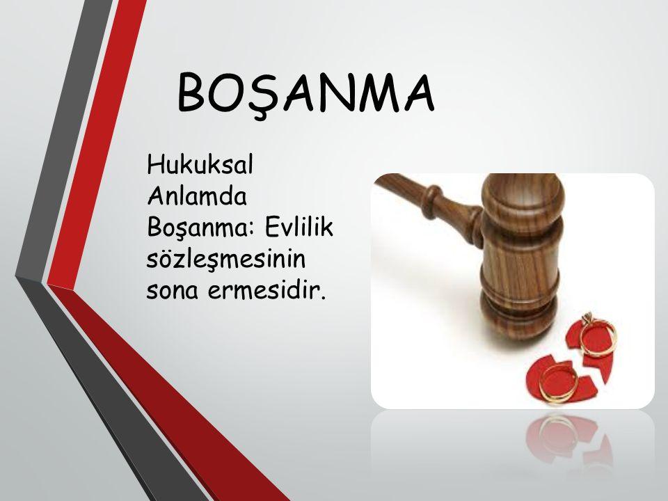 BOŞANMA Hukuksal Anlamda Boşanma: Evlilik sözleşmesinin sona ermesidir.