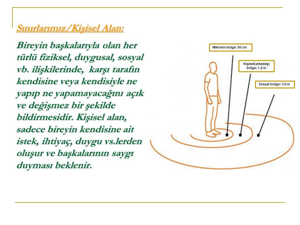 Sınırlarımız/Kişisel Alan: Bireyin başkalarıyla olan her türlü fiziksel, duygusal, sosyal vb. ilişkilerinde, karşı tarafın kendisine veya kendisiyle n