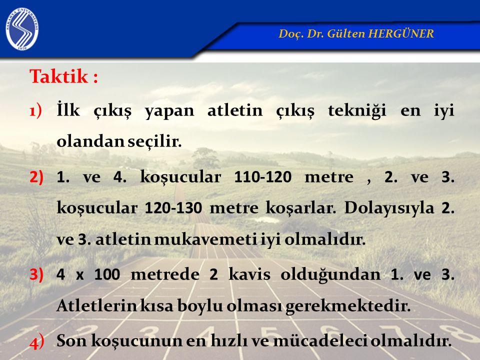 Taktik : 1)İlk çıkış yapan atletin çıkış tekniği en iyi olandan seçilir. 2)1. ve 4. koşucular 110-120 metre, 2. ve 3. koşucular 120-130 metre koşarlar