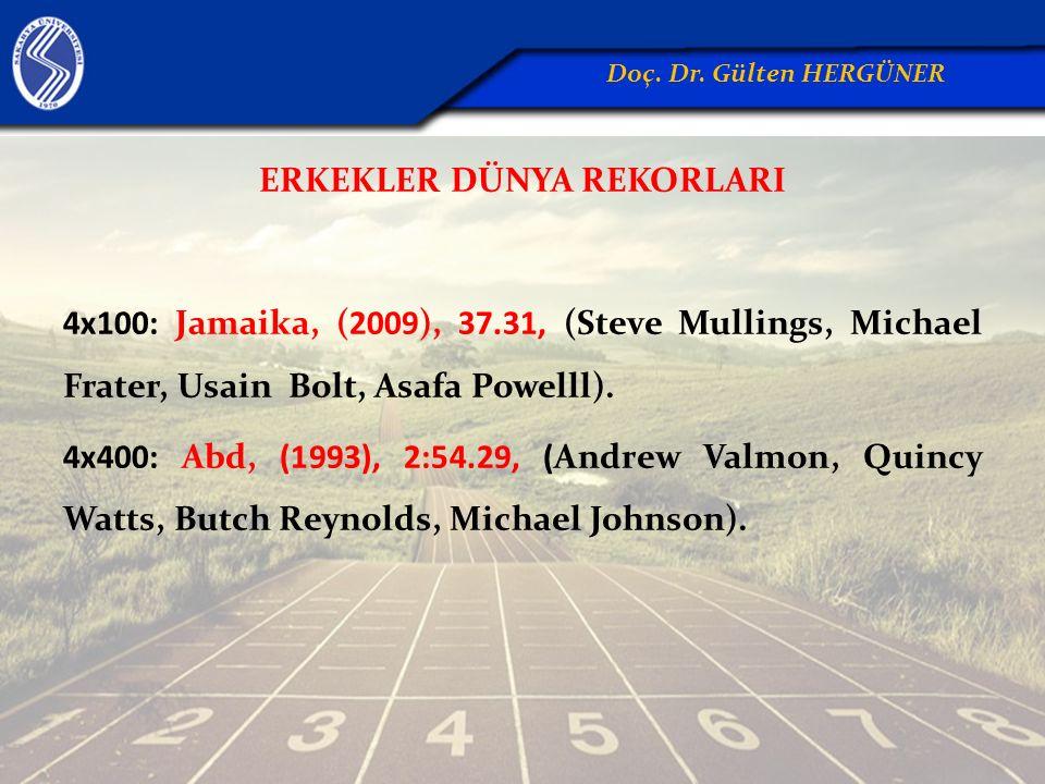 ERKEKLER DÜNYA REKORLARI 4x100: Jamaika, (2009), 37.31, (Steve Mullings, Michael Frater, Usain Bolt, Asafa Powelll). 4x400: Abd, (1993), 2:54.29, (And