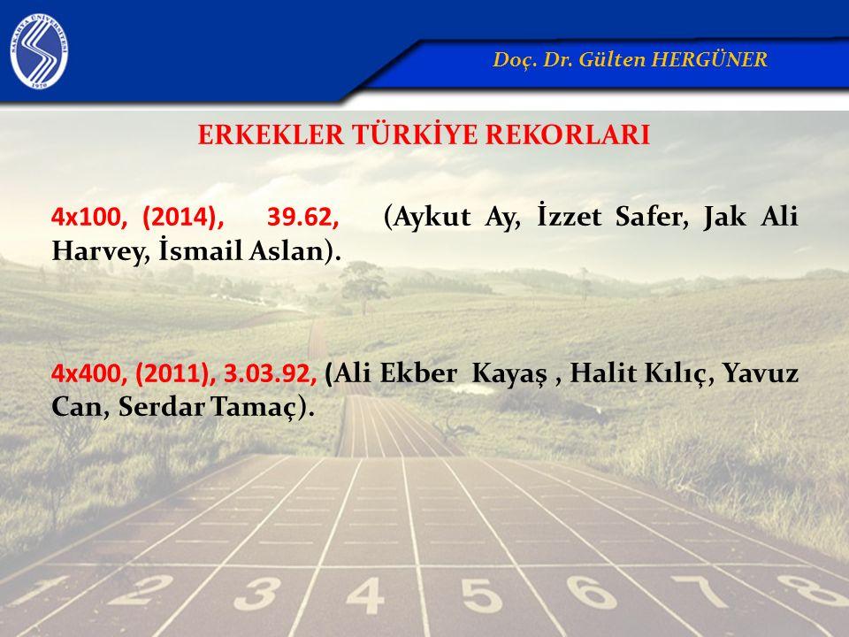 ERKEKLER TÜRKİYE REKORLARI 4x100, (2014), 39.62, (Aykut Ay, İzzet Safer, Jak Ali Harvey, İsmail Aslan). 4x400, (2011), 3.03.92, (Ali Ekber Kayaş, Hali