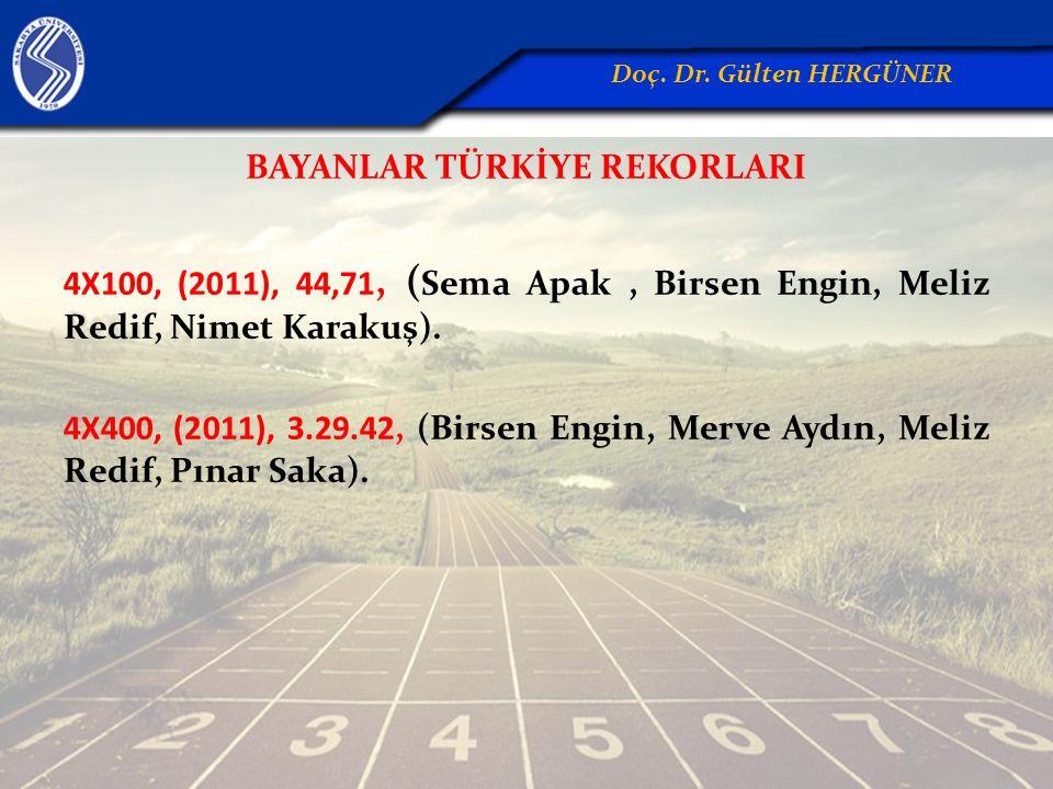 BAYANLAR TÜRKİYE REKORLARI 4X100, (2011), 44,71, ( Sema Apak, Birsen Engin, Meliz Redif, Nimet Karakuş). 4X400, (2011), 3.29.42, (Birsen Engin, Merve