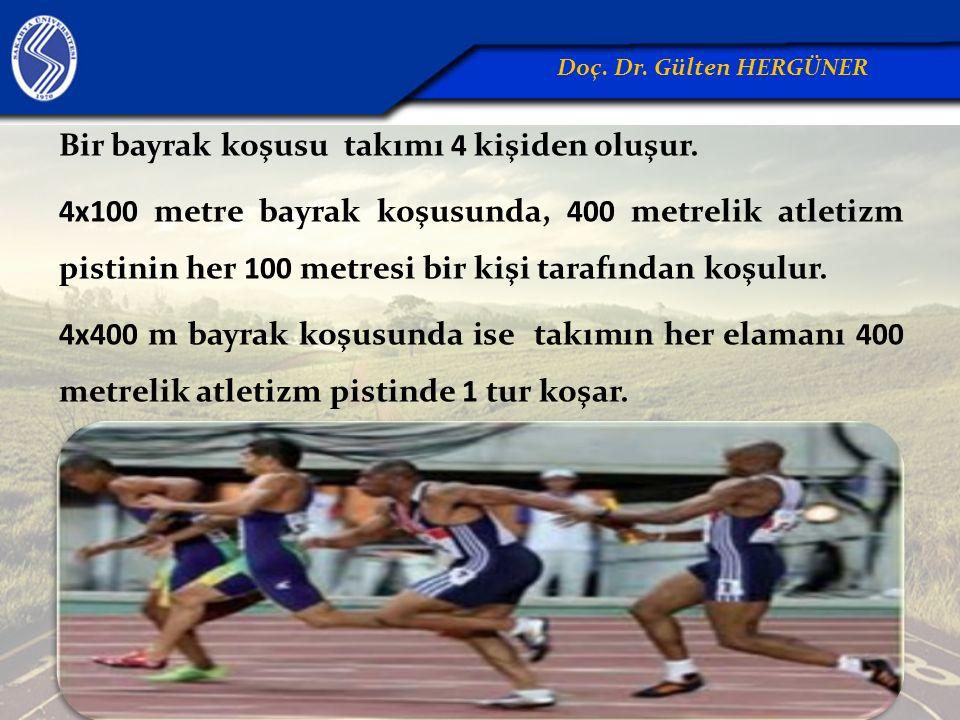 Bir bayrak koşusu takımı 4 kişiden oluşur. 4x100 metre bayrak koşusunda, 400 metrelik atletizm pistinin her 100 metresi bir kişi tarafından koşulur. 4
